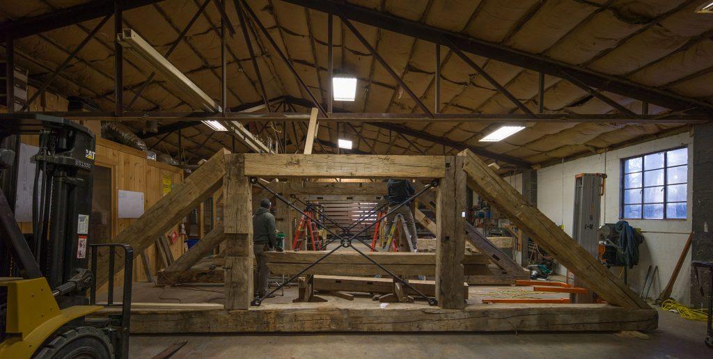 reclaimed wood timber frame barn