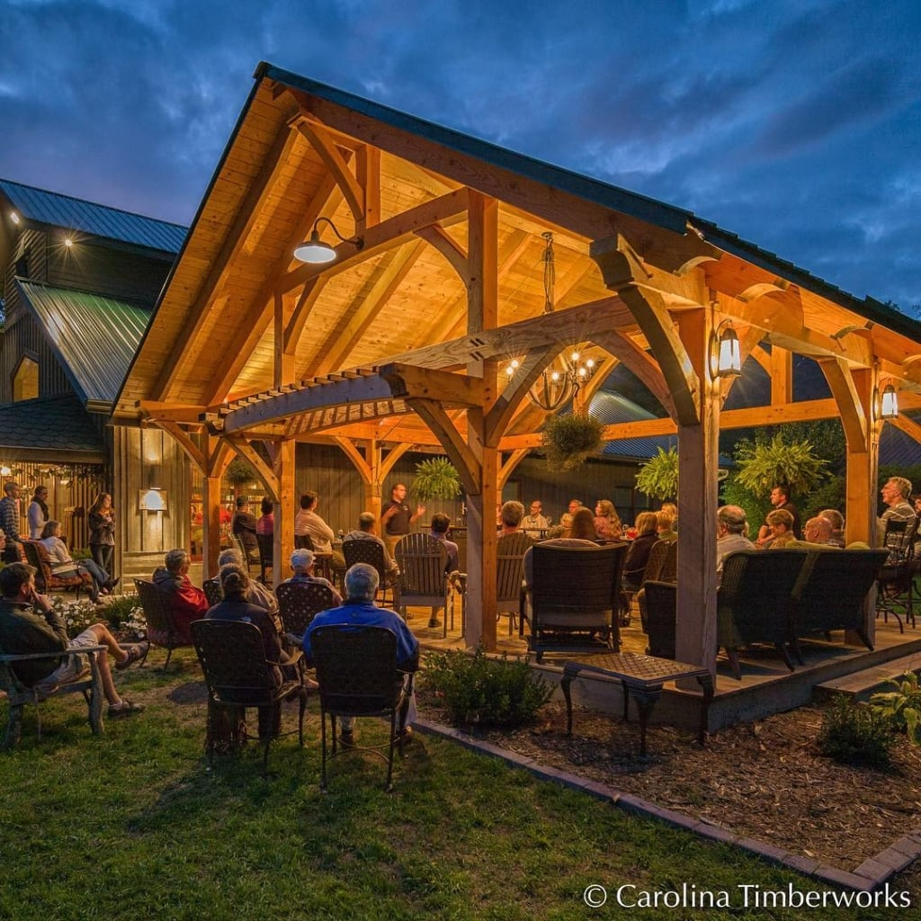 Timber frame winery pavilion