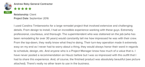 remodel project - testimonial from general contractor