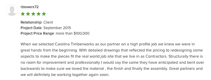 detailed drawings - contractor testimonial