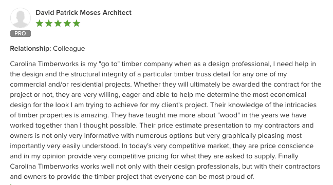 timber company - architect testimonial