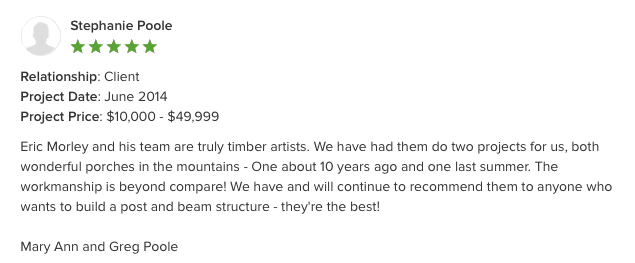 workmanship - timber artists - testimonial for mountain porch