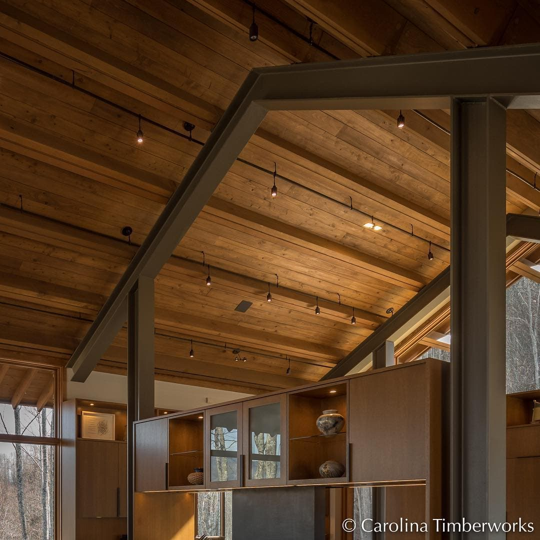 West Coast timber framing is characterized by clean lines, low pitched or shed style roofs, and an absence of diagonal bracing.  The Timber of choice is Fir, preferably Clear with even grain.  Checking is frowned upon, so RFKD, Select, FOHC is specified. (Thanks to John Miller of @cascade_joinery.)