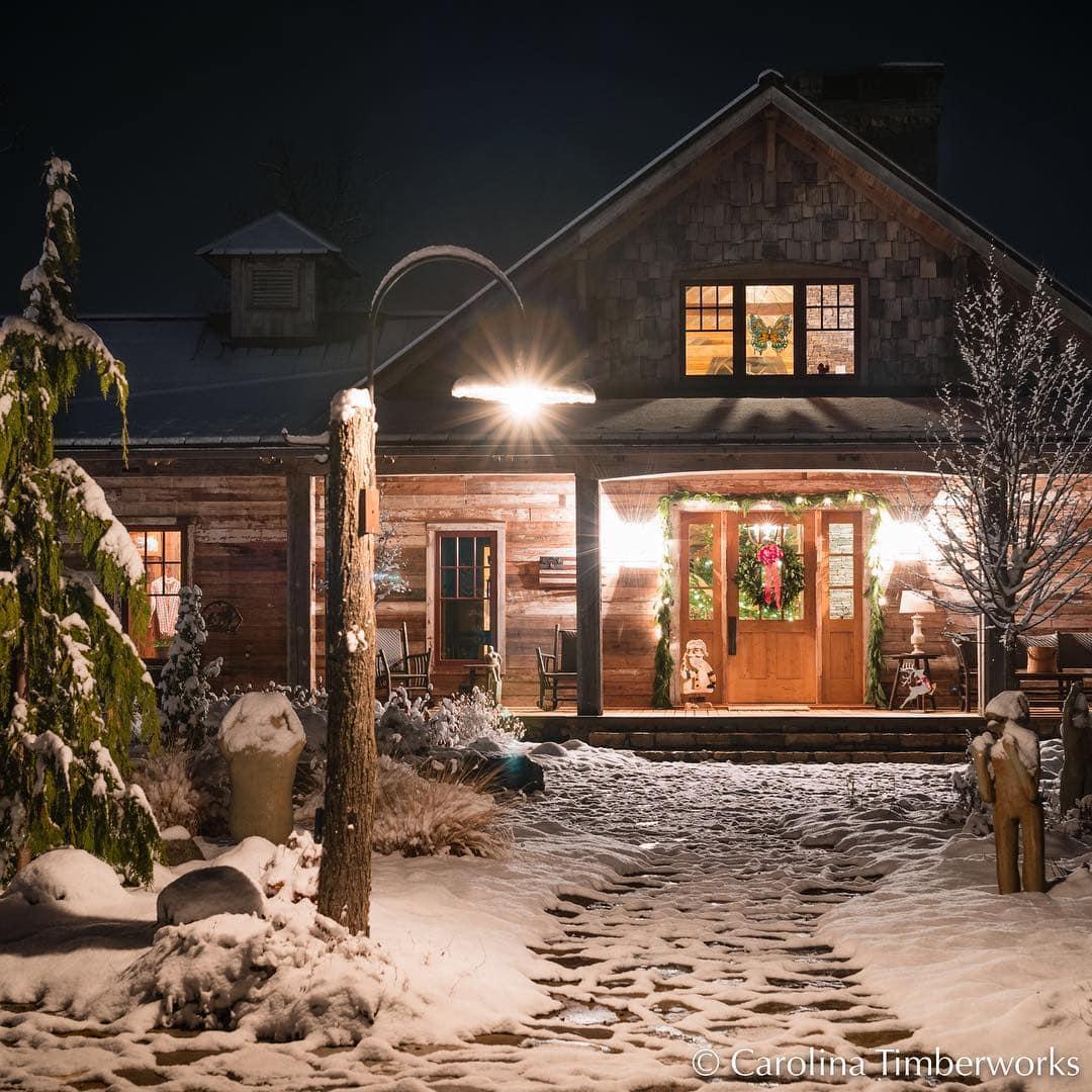 timberframe customhome snowfall mountainlife carolinatimberworks