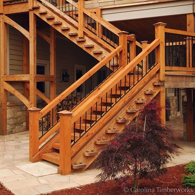 Each step in this through tenon exterior staircase is a labor of love and a work of art.