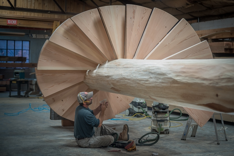 Log timber spiral staircase