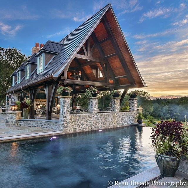 Time for some summer dreamin'! LOVE the asymmetrical post design and the stone work on this poolside pavilion. Photography copyright Ryan Theede Photography, design by Platt Architecture, PA.