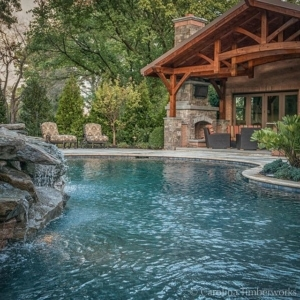This timber frame pool pavilion has all the right curves in all the right places!