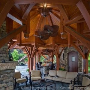 Is it just us, or does something about this Western Red Cedar pool pavilion (featured in Fine Homebuilding Magazine) remind one of Gothic cathedrals and flying buttresses? The arched openings leading the eye heavenward…