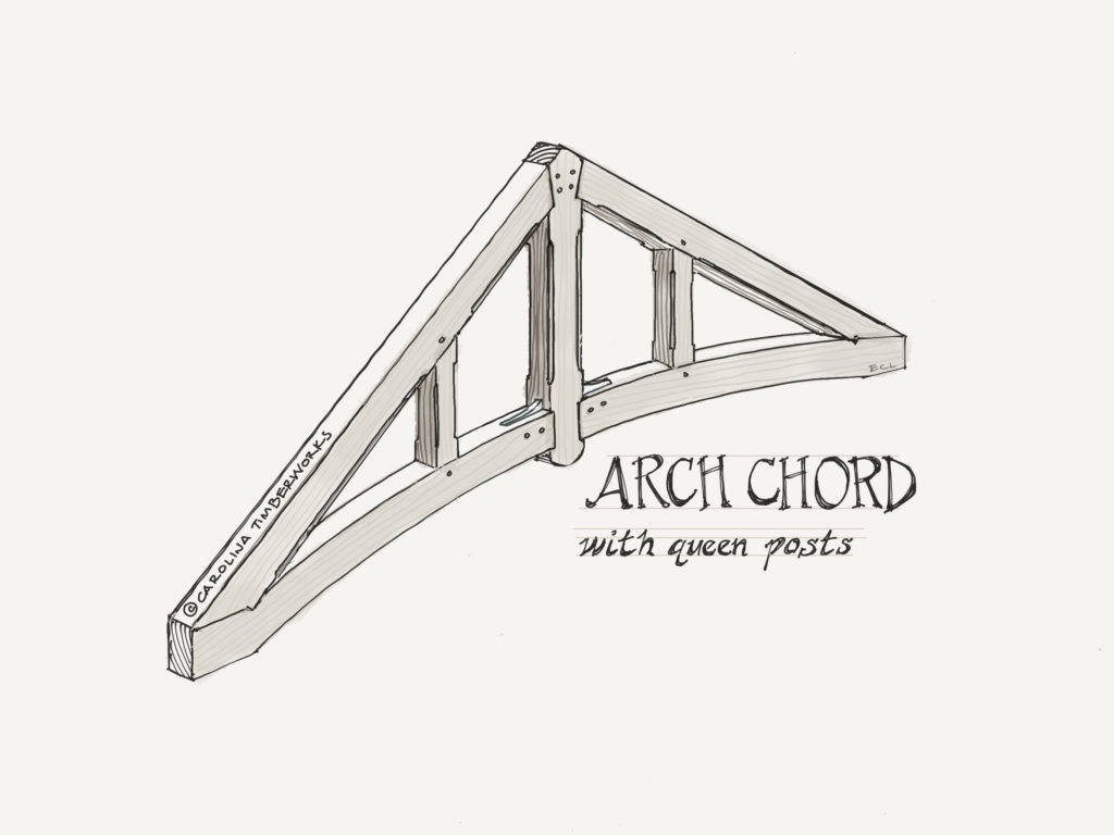 Queen Post Timber Frame Truss with arched curved lower chord