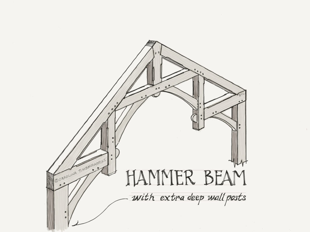 Hammer Beam Timber Frame Truss Bent and Wall Posts