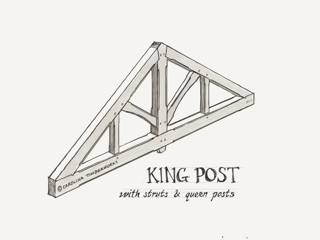 Timber Frame King Post Truss Struts Queen Posts