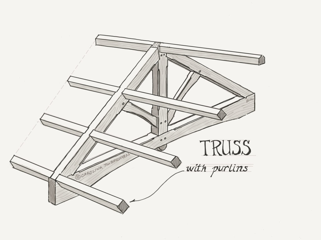 Timber frame trusses with purlins