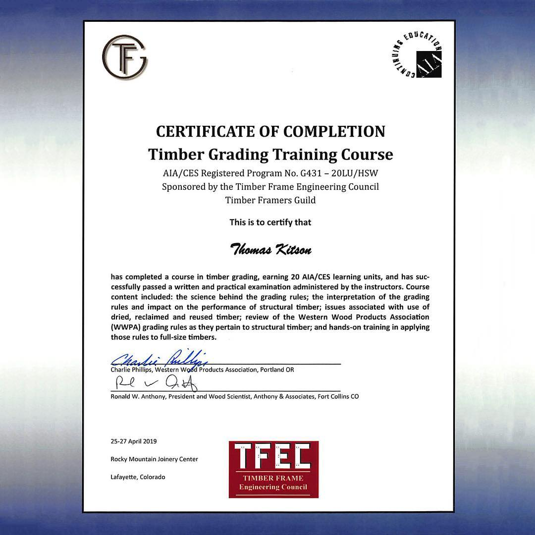 Congratulations to Thomas Kitson and Josh Sheets for completing the Timber Grading Course sponsored by the Timber Frame Engineering Council and @timberframersguild – we're proud of you!
