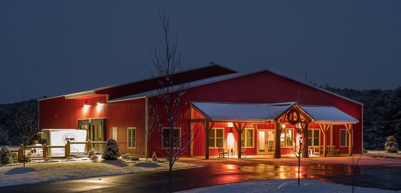 Decorative Timber Frame Entrance on Metal Commercial Building