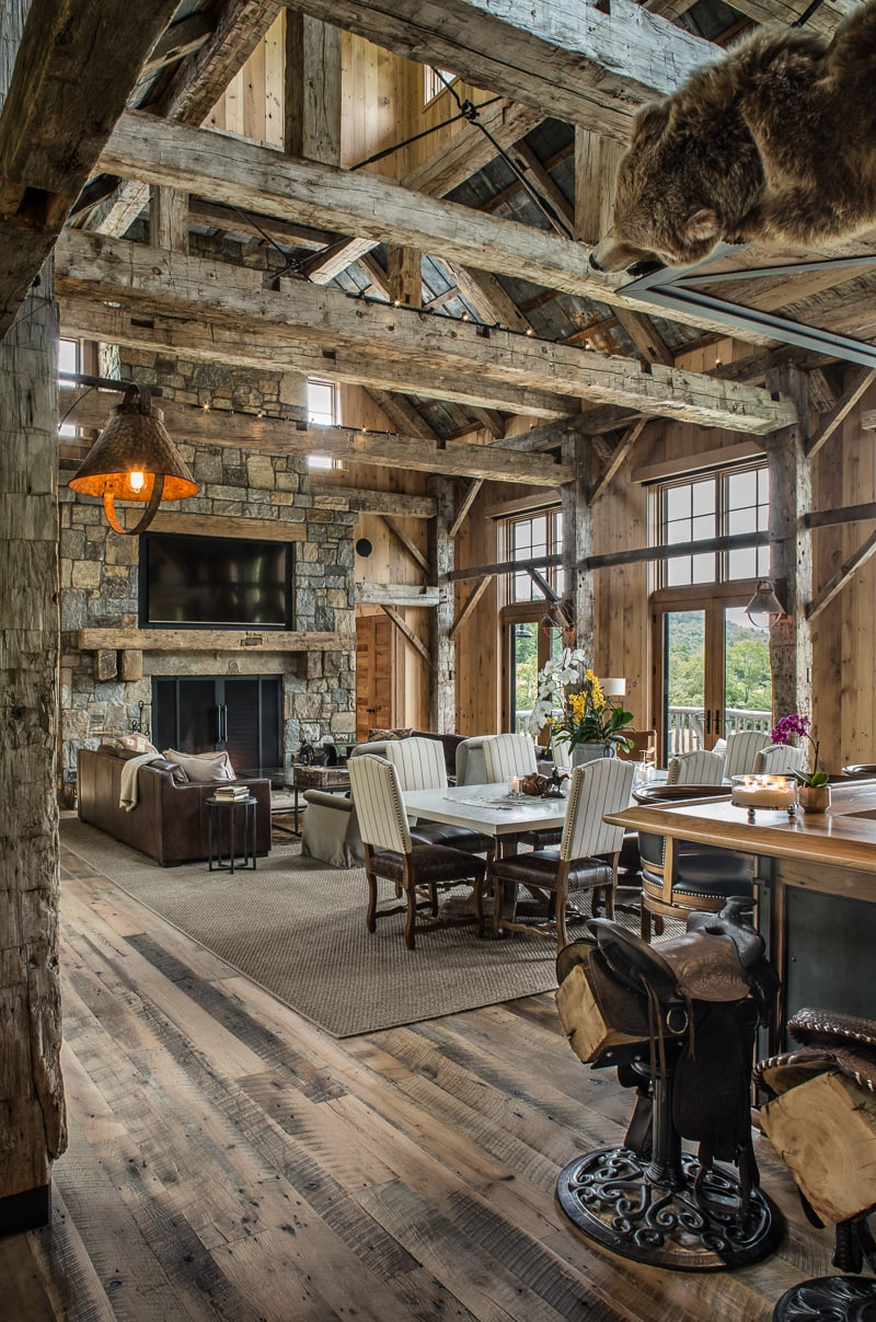 mountain house great room reclaimed beams
