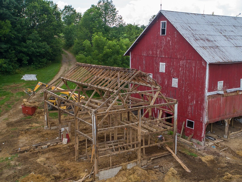 Barn during construction