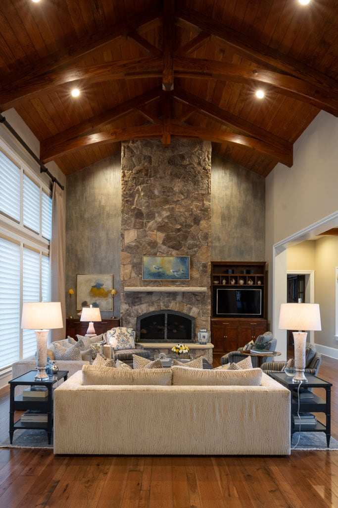wood beams in living room
