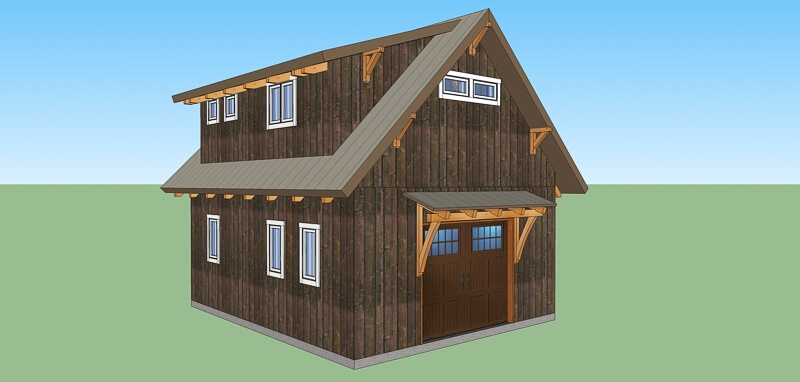 Timber Frame Workshop Garage Guest House Plan