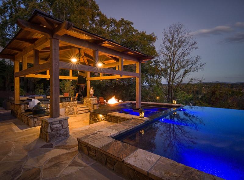 home design post and beam pool cabana