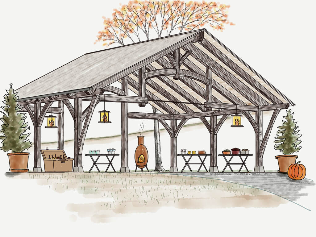 Timber Frame Carport and Party Pavilion
