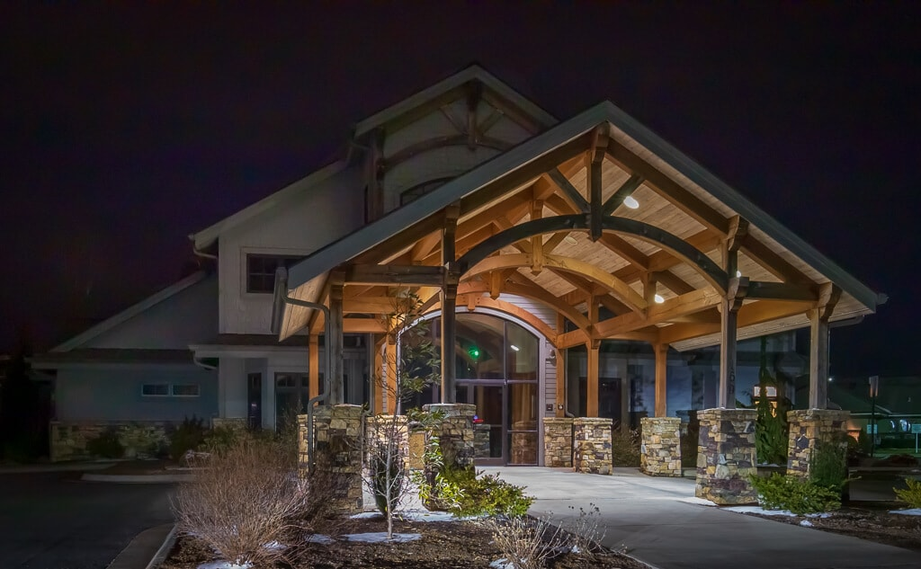 Wood Porte Cochere for a business