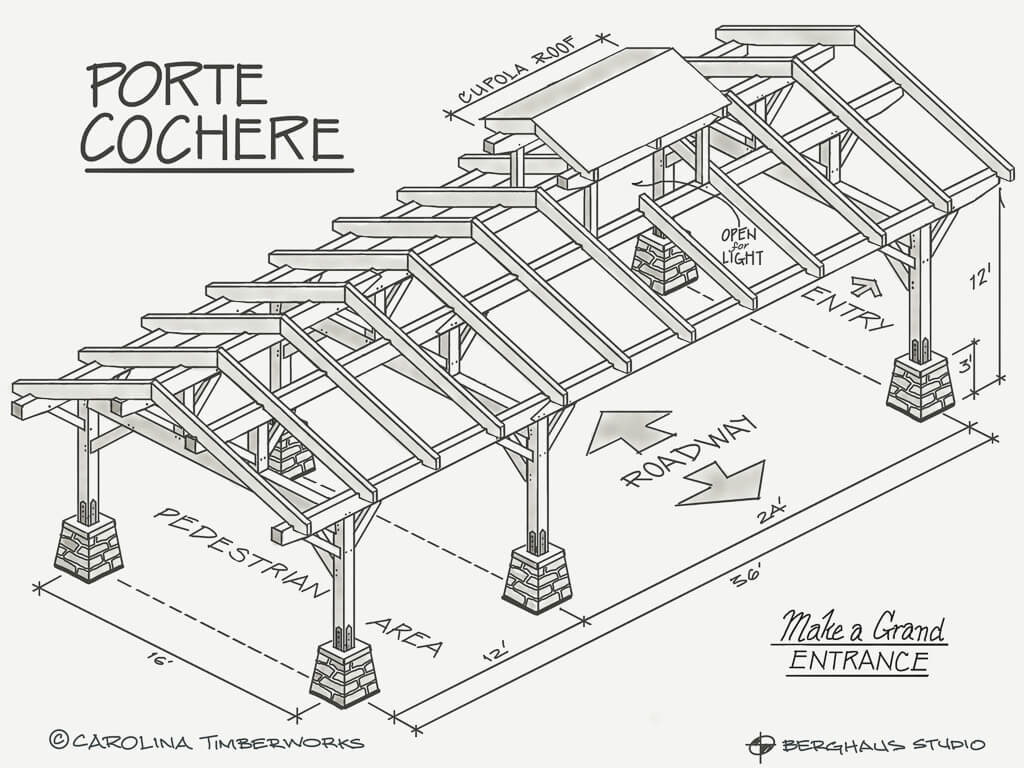 Timber Frame Porte Cochere