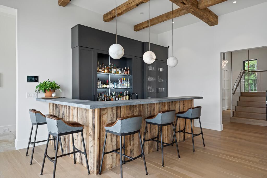 Modern farmhouse bar area