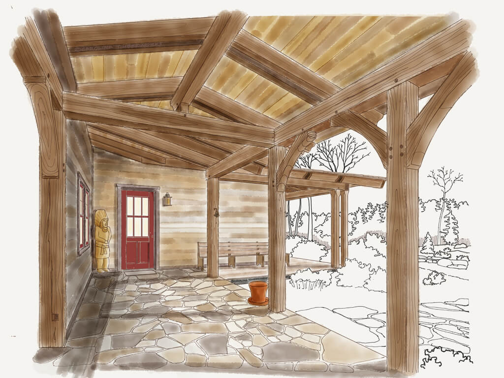 Timber Frame Covered Walkway Breezeway