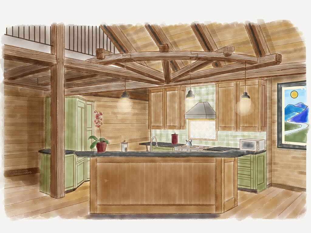 Timber Frame Kitchen Island