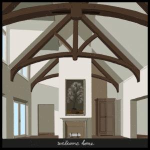 Timber Frame Greatroom Trusses