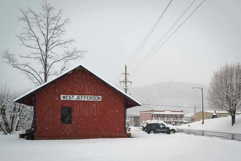 Downtown West Jefferson in Snow